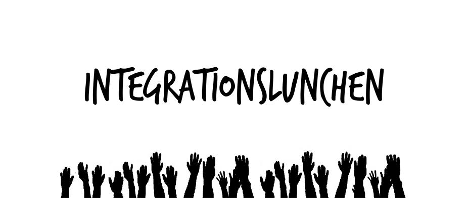Svart logga med händer för intergrationslunch